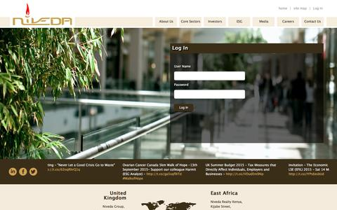Screenshot of Login Page niveda.com - Niveda - Investor Portal - captured Feb. 15, 2016