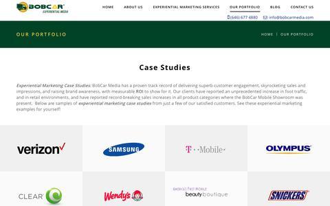 Screenshot of Case Studies Page bobcarmedia.com - Experiential Marketing Case Studies - About Us - BobCar Media - captured Oct. 10, 2017