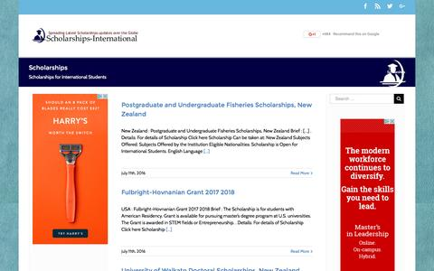 Screenshot of Home Page scholarships-international.com - International Scholarships - Scholarships 2017 - 2018 - captured Sept. 4, 2016