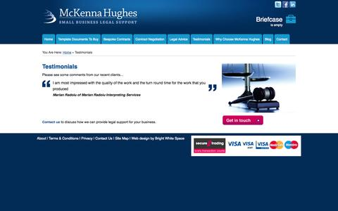 Screenshot of Testimonials Page mckennahughes.co.uk - Client Testimonials for Small Business and Start Up Legal Company McKenna Hughes - captured Oct. 27, 2014