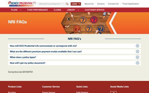 Screenshot of FAQ Page iciciprulife.com - NRI - FAQs - captured Sept. 21, 2018