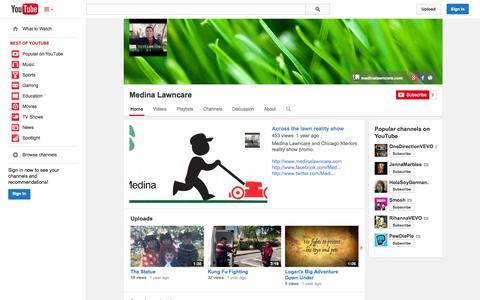 Screenshot of YouTube Page youtube.com - Medina Lawncare  - YouTube - captured Oct. 26, 2014