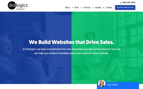 Screenshot of Home Page dotlogics.com - New York Web Design & Development Company – Dotlogics - captured July 6, 2019