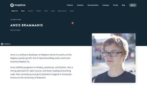 Screenshot of Team Page mapbox.com - Ansis Brammanis   Mapbox - captured Feb. 19, 2019