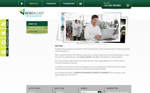 Screenshot of Team Page ecoballast.com - Our Team | Joe McLean | Ecoballast Technologies Ireland - captured Oct. 1, 2014