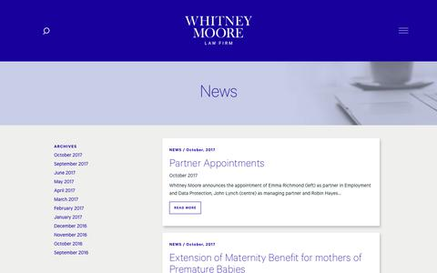 Screenshot of Press Page whitneymoore.ie - News - Whitney Moore - captured Oct. 21, 2017