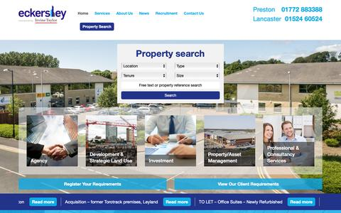 Screenshot of Home Page eckersleyproperty.co.uk - Eckersley are chartered surveyors, commercial property consultants - captured Sept. 26, 2018