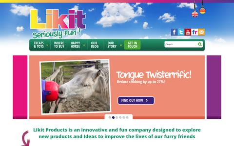 Screenshot of Home Page likit.co.uk - LIKIT Horse Treats and Toys for Equine Boredom Relief - captured Sept. 19, 2015