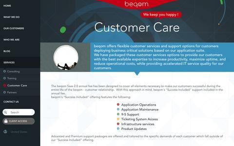 Screenshot of Support Page beqom.com - beqom Customer Care | Expert Help to Make Your People Happy - captured Dec. 28, 2016