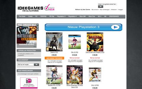 Screenshot of Home Page Privacy Page Site Map Page Login Page ideegames.nl - Idee Games - De webshop voor Pre Orders, PS3, XBOX 360, PC, PS VITA, PSP, Wii, Wii U, NDS en 3DS Home page - captured Sept. 30, 2014