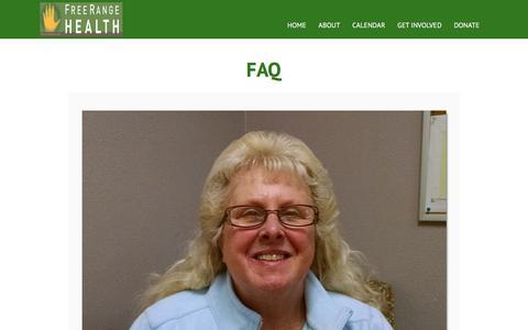 Screenshot of FAQ Page freerangehealth.org - FAQ - Free Range Health - captured Aug. 7, 2018