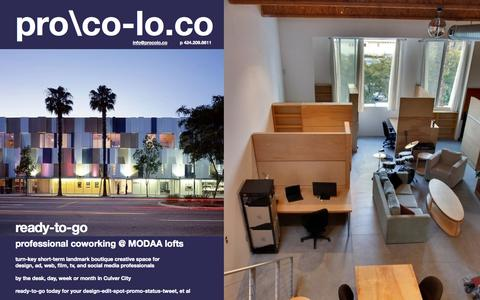 Screenshot of Home Page procolo.co - Culver City office space for share or rent | coworking at MODAA lofts - procolo.co - captured Oct. 3, 2014