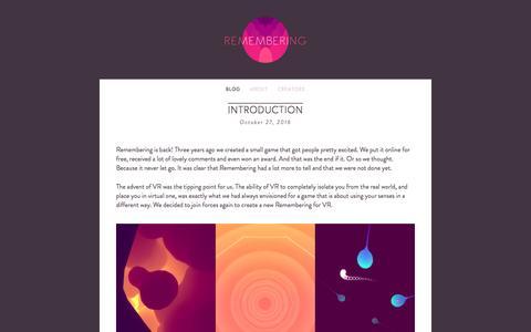 Screenshot of Blog rememberingthegame.com - BLOG — Remembering - captured Feb. 1, 2017
