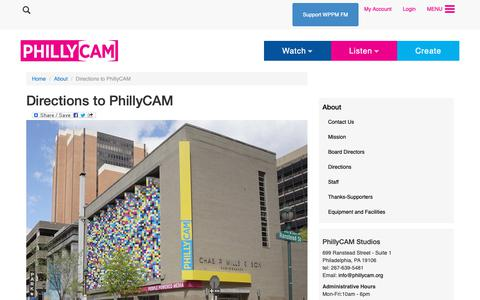 Screenshot of Maps & Directions Page phillycam.org - Directions to PhillyCAM | PhillyCAM - Philadelphia Community Access Media - captured Sept. 28, 2018