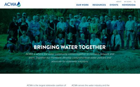 Screenshot of About Page acwa.com - About - Association of California Water Agencies - captured Oct. 9, 2017