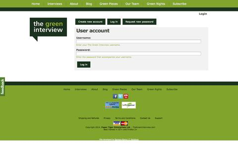 Screenshot of Login Page thegreeninterview.com - User account - The Green Interview - captured Oct. 9, 2014
