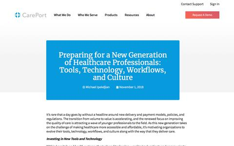 Screenshot of Blog careporthealth.com - Preparing for a New Generation of Healthcare Professionals: Tools, Technology, Workflows, and Culture - Careport Health - captured Feb. 20, 2020