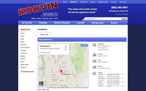 Screenshot of Contact Page Locations Page korvinappliance.com - Contact Korvin Appliance Inc. in New Hampshire - captured June 22, 2016