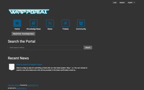 Screenshot of Support Page warpportal.com - Portal - WarpPortal - captured Dec. 13, 2018