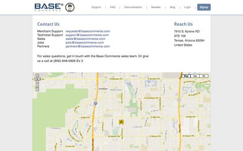 Screenshot of Support Page basecommerce.com - Base Commerce - Contacts - captured Sept. 30, 2014