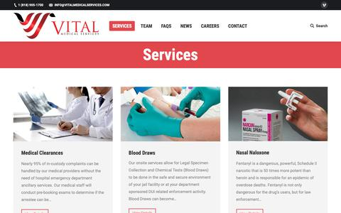 Screenshot of Services Page vitalmedicalservices.com - Services – Vital Medical Services - captured Oct. 25, 2018
