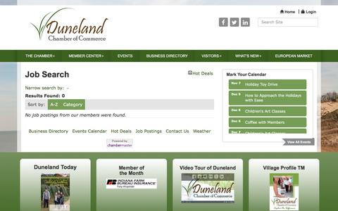 Screenshot of Jobs Page dunelandchamber.org - Job Search - Duneland Chamber of Commerce, IN - captured Dec. 6, 2016