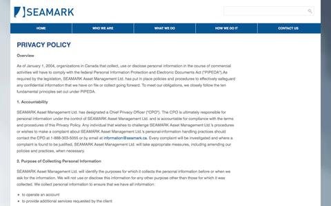 Screenshot of Privacy Page seamark.ca - PRIVACY POLICY - SEAMARK Asset Management Ltd - captured Sept. 29, 2017