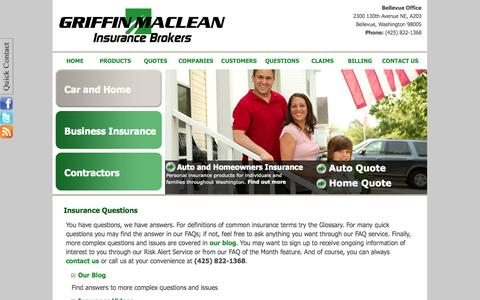 Screenshot of FAQ Page griffinmaclean.com - Griffin MacLean Insurance Brokers - Bellevue, Washington 98005 - captured Oct. 3, 2014