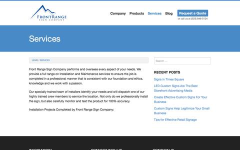 Screenshot of Services Page frontrangesigns.com - Services   Front Range Sign Company - captured Feb. 10, 2016