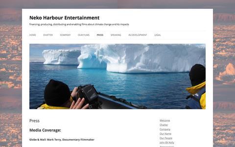 Screenshot of Press Page nekoharbour.com - Press - Neko Harbour Entertainment - captured Oct. 26, 2014