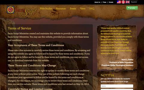 Screenshot of Terms Page sacrascript.org - Terms of Service - Sacra Script MinistriesSacra Script Ministries - captured Oct. 3, 2014