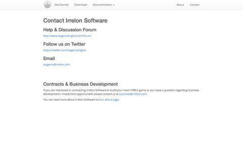 Screenshot of Contact Page isogenicengine.com - Isogenic Game Engine - captured Oct. 31, 2014