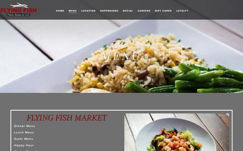 Screenshot of Menu Page flyingfishmarket.com - Menu - Flying Fish Market & Grill - captured May 10, 2016