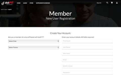 Screenshot of Signup Page dotfit.com - New User Registration - captured June 28, 2017