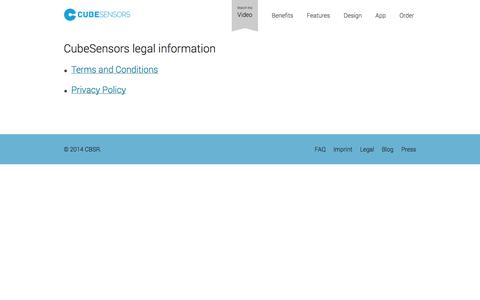 Screenshot of Terms Page cubesensors.com - CubeSensors Legal - Improving indoor living - captured Sept. 18, 2014