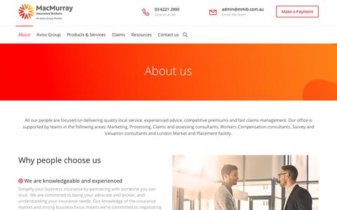 Screenshot of About Page mmib.com.au - About - MacMurray Insurance Brokers - captured Oct. 1, 2018