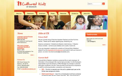 Screenshot of Jobs Page culturedkidsofmadison.com - Jobs at CK | Cultured Kids of Madison - captured Sept. 19, 2017