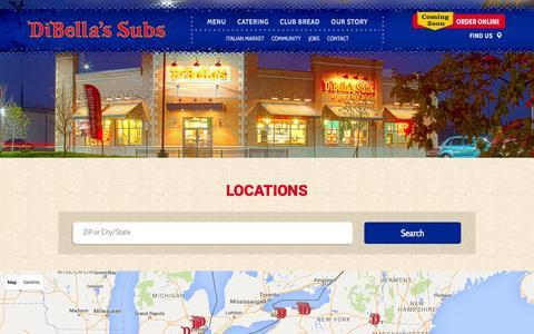 Screenshot of Locations Page dibellas.com - DiBella's Subs Locations - captured Feb. 9, 2016