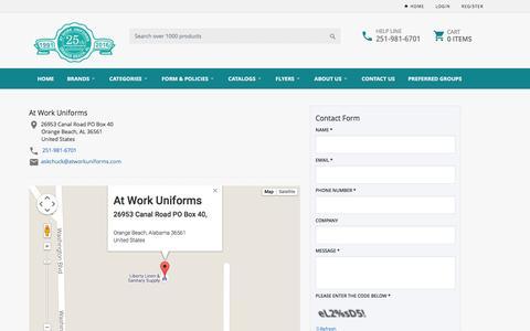Screenshot of Contact Page atworkuniforms.com - At Work Uniforms-AL - captured Dec. 27, 2015