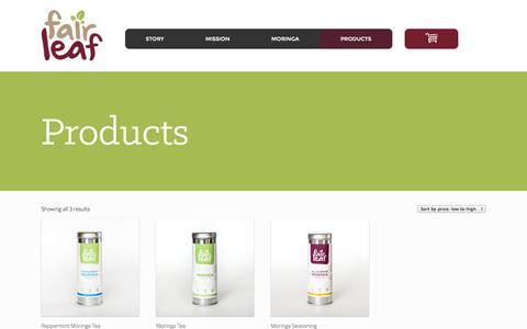 Screenshot of Products Page fairleaf.org - Products   Fairleaf - captured Oct. 29, 2014