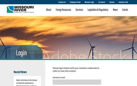 Screenshot of Login Page mrenergy.com - Login | Missouri River Energy Services - captured Oct. 18, 2018