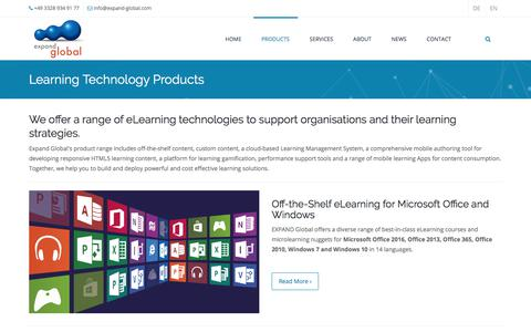 Screenshot of Products Page expand-global.com - Learning Technology Products | EXPAND Global GmbH - eLearning Microsoft Office 365 and Digital Learning Technologies - captured July 24, 2018