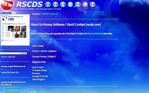 Screenshot of About Page rscds.com - About Us : Numus Software / UtanU Limited | rscds.com - captured Nov. 2, 2014