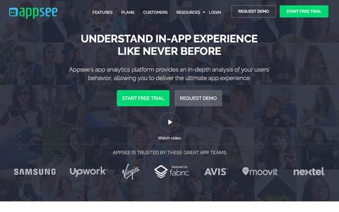 Screenshot of Home Page appsee.com - Appsee App Analytics - captured May 8, 2017