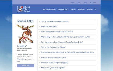 Screenshot of FAQ Page flyingstartbooks.com - FAQs - Flying Start Books - captured Nov. 3, 2014