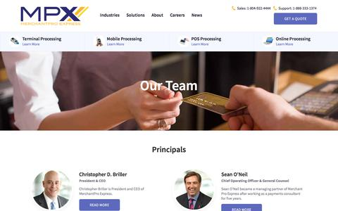 Screenshot of Team Page merchantproexpress.com - Principals & Partners - captured Sept. 20, 2018
