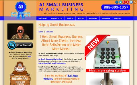 Screenshot of Home Page a1smallbusinessmarketing.com - Helping Small Businesses - A1 Small Business Marketing - captured March 31, 2016