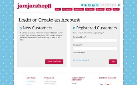 Screenshot of Login Page jamjarshop.com - Customer Login | Jam Jar Shop - captured Oct. 31, 2017