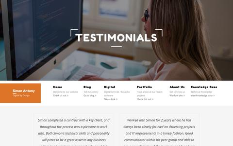 Screenshot of Testimonials Page simonantony.net - Testimonials for Simon Antony Umbraco and Software Developers - captured Aug. 13, 2016