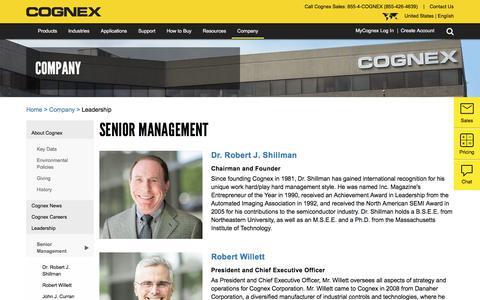 Screenshot of Team Page cognex.com - Senior Management   Cognex - captured Feb. 6, 2018